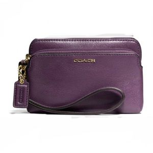 COACH Purple Double Zip Wallet